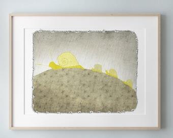 Nursery art print, Snails Family, Children Illustration, Baby bedroom decor