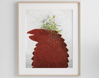 Red Lizard, Art Print of an original illustration, Animal Poster, Wall Art for Kids Bedroom, Interior Home Decor by Aliette