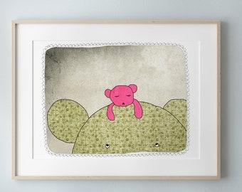 Bear Nursery decor, Wall Art Print for Kids Bedroom, Mother and Child, Digital Illustration, Nursery Decoration