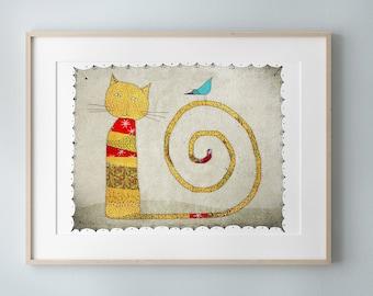Cat, Print of an original illustration, Nursery wall art decor, Animal poster, Pet Portrait