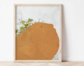 Orange fish, Coastal Wall Decor, Art Print of an original illustration, Modern Nursery