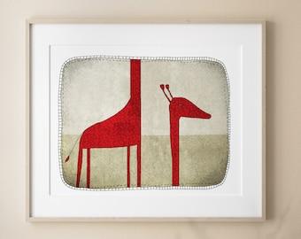 Wall Art for Kids Bedroom, Giraffe Illustration, Modern Nursery Room Decor, Children's Bedroom Art