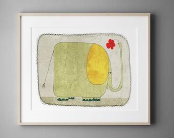 Elephant, Wall Art for Kids Bedroom, Digital Illustration, Nursery art print, Baby  room decor
