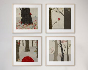 La foret Set of 4 prints