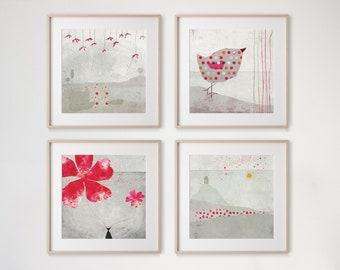 Framboise Set of 4 prints