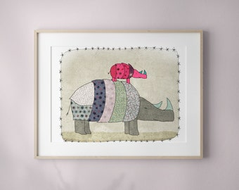 Children's Bedroom Art, Rhinoceros, Nursery print, - Baby  room decor, Birth gift, father and son