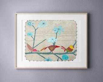 Birds Print, Modern Wall Art, Nursery Room Decor, Kids bedroom art
