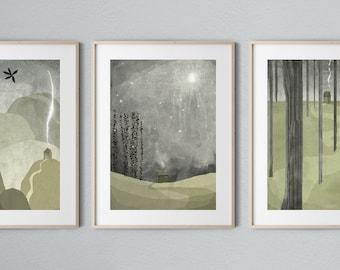 Nuit Set of 3 prints Sage and Grey