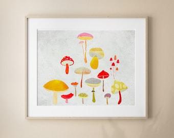 Mushrooms Fine Art Print, Modern Nursery Room Decor, Illutrated bedroom decoration, Octobre
