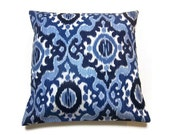 RESERVED  Decorative Pillow Cover Navy Blue Powder Blue White Ikat Damask Design Handmade Toss Throw Accent Covers 18x18 inch