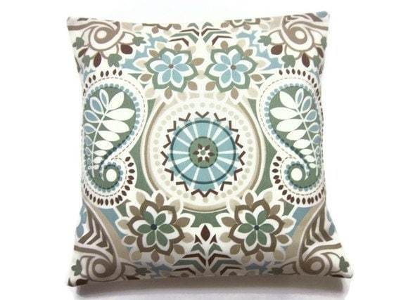 Pillow Cover Sage Green Blue Taupe Brown Paisley Throw Toss Accent Same Fabric Frontback 18 X 18 Inch X