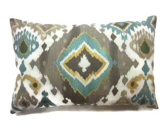 Decorative Ikat Design Lumbar Pillow Cover Teal Taupe Light Cream Same Fabric Front/Back 12x18 inch