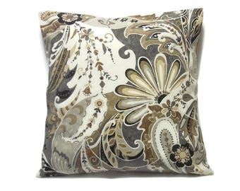 Decorative Pillow Cover Paisley Design Brown Cream Gray Grey Black Same Fabric Front Back Toss Throw Accent 18x18 inch  x
