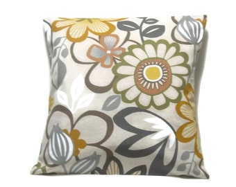 Decorative Pillow Cover Gray White Natural Mustard Funky Floral Design TossThrow Accent 18x18 inch  x