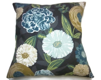 Decorative Pillow Cover Navy Blue, Gold, Green, White, Gray, Black Bold Frolicing Floral Design Same Fabric Front/Back 18x18 inch