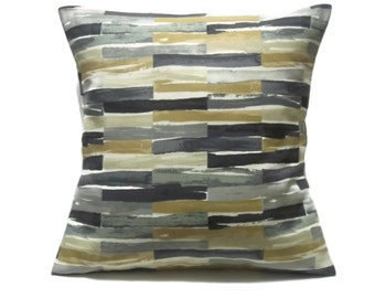 Pillow Cover Decorative Geometric Shades of Green Gray Black Gold White  18x18 inch TossThrow Accent 18x18 inch  x