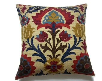 Decorative Pillow Cover Ikat Crimson Red Gold Navy Blue Light Blue Camel Same Fabric Front/Back Toss Throw Accent Cover 18x18 inch x
