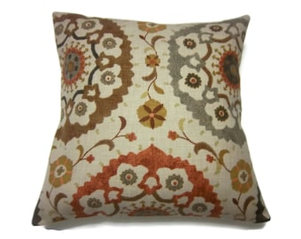 Decorative Pillow Cover Brown Gray Camel Mustard Gold Orange Rust Suzani Same Fabric Front/Back Throw Accent Cover 18x18 inch x