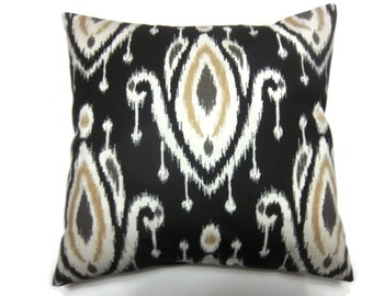 Decorative Pillow Cover Ikat Design Black White Camel Gray Same Fabric Front/Back Toss Throw Accent 18x18 inch x