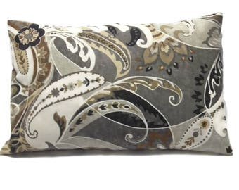 Decorative Lumbar Pillow Cover Paisley Design Brown Cream Black Gray Grey 12x18 inch  x