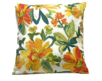 Decorative Pillow Cover Green Yellow Red Orange White Floral Design Same Fabric Front/Back Toss, Throw, Accent, 18x18 inch  x