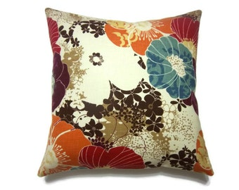 Decorative Pillow Cover Tangerine Orange Aqua Purple Red Brown Cream Same Fabric Front/Back Multicolored   18x18 inchx