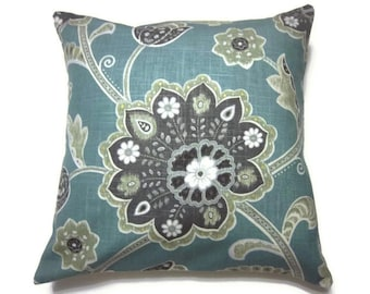Decorative Pillow Cover Teal Charcoal Gray Moss Green White Gold Floral Design Same Fabric Front/BackPillow Toss Throw Accent  18x18 inch x