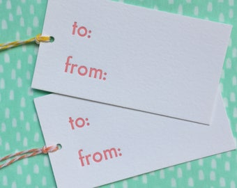 set of 2 letterpress to from gift tags. everyday gift tags. gift wrap for her. bridesmaids bridal shower. pink gift tags with bakers twine.