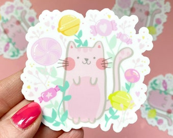 cute kawaii candy forest cat waterproof vinyl laptop/water bottle/notebook sticker. cute planner/journal accessory. weatherproof car sticker