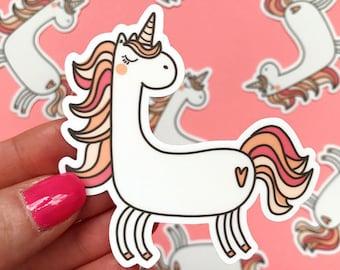 cute kawaii magical unicorn weatherproof vinyl sticker. waterproof animal decal. best friend gift. notebook, journal, planner accessory.