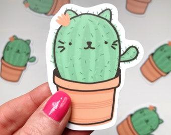 cat cactus waterproof vinyl laptop, notebook sticker. cute kawaii planner sticker. journal accessory. cat pun. cat or plant lover gift.