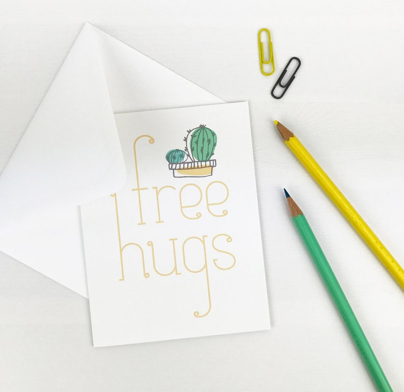 happy snail mail for her everyday funny illustrated card keep in touch. yellow card for friend for him free hugs cactus greeting card