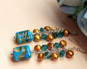Artisan Lampwork and Swarovski Crystal Freshwater Pearl Chandelier Earrings