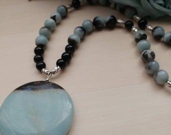 Gemstone Amazonite Black Tourmaline Necklace
