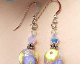 Polymer Clay and Swarovski Crystal Earrings