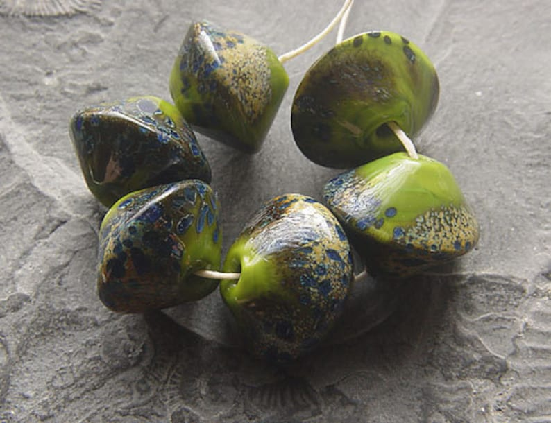 by Calisto artisan lampwork MTO Moosy GREEN Color perfect for Winter handmade