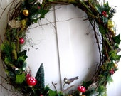 Twiggy Holiday Bird Wreath