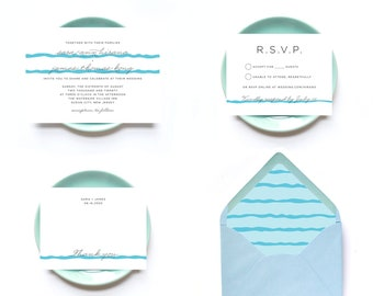Beach Wedding Invitations - 50 Invitations and Envelopes - Blue Waves Clean Wedding Card