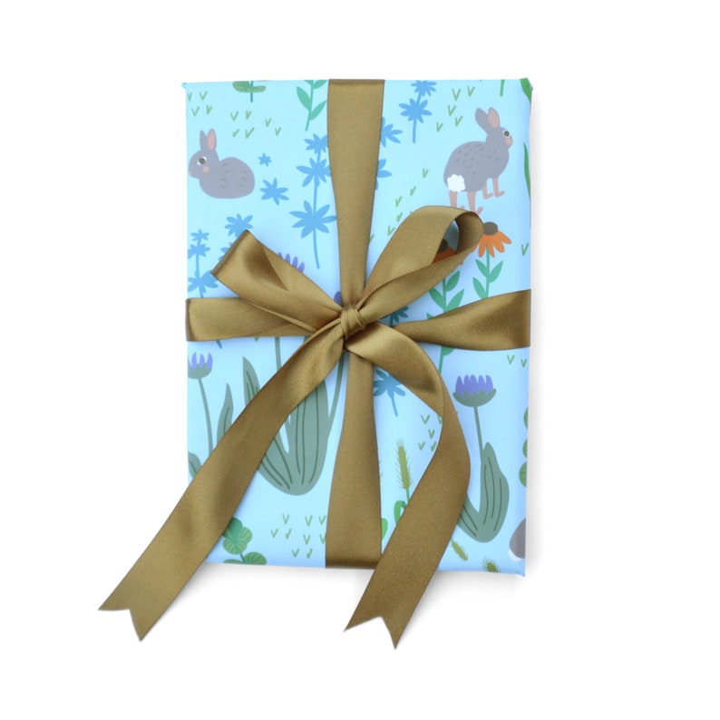 Rabbits on Meadow Wrapping Paper 1 Sheet image 0