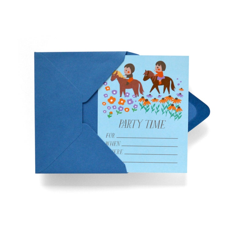 Pony Rides Fill-in Party Invitation Set of 12 image 0