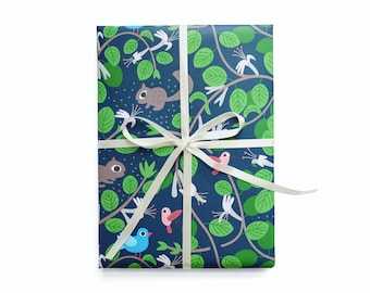 Honeysuckle and Garden Friends Wrapping Paper 1 Sheet