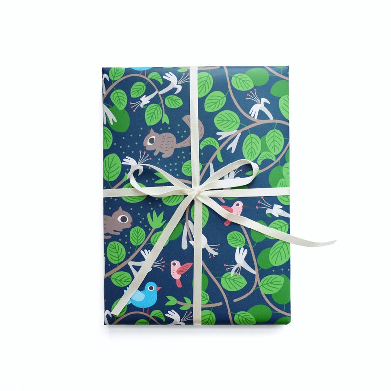 Honeysuckle and Garden Friends Wrapping Paper 1 Sheet image 0