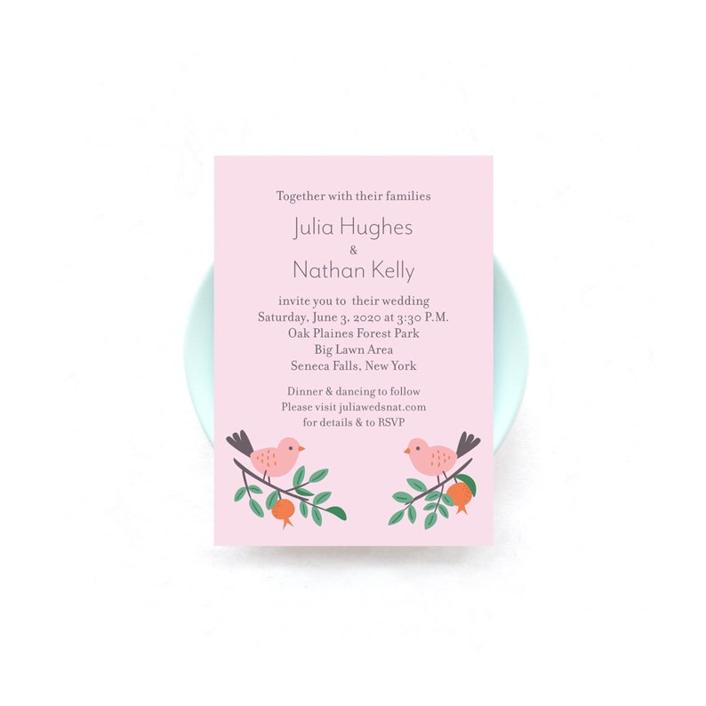 Love Birds in Forest Wedding Invitations  50 Invitations and image 0