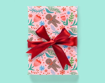 Christmas Pattern: Pink Wrapping Paper 1 Sheet