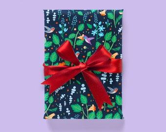 Jewelweed and Hummingbirds Wrapping Paper 1 Sheet