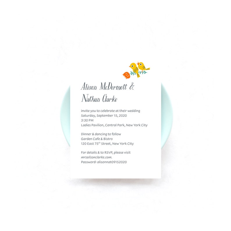 Love Birds Wedding Invitations  Blooming Branch and Love image 0