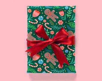 Christmas Pattern: Dark Green Wrapping Paper 1 Sheet
