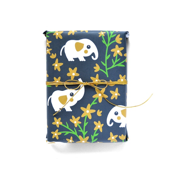 Gold Wrapping Paper 1 Sheet Little Elephants