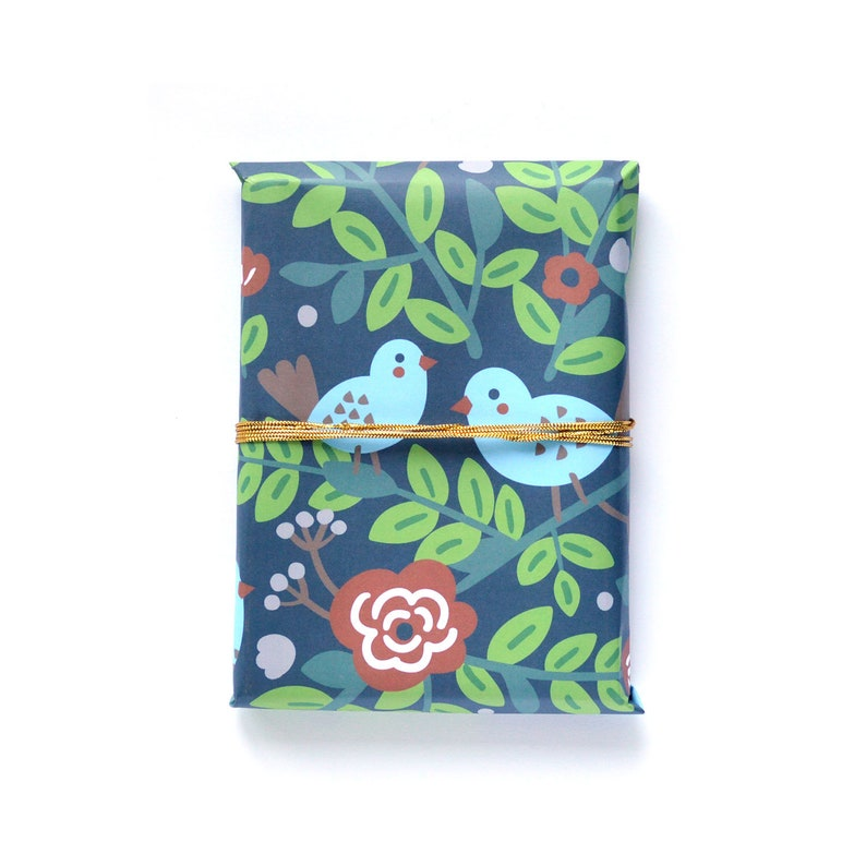 Birds on Blooming Branches Wrapping Paper 1 Sheet image 0