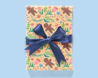 Christmas Pattern: Orange Wrapping Paper 1 Sheet